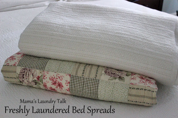 How often should you wash comforters and bed spreads?  Find out at Mama's Laundry Talk!